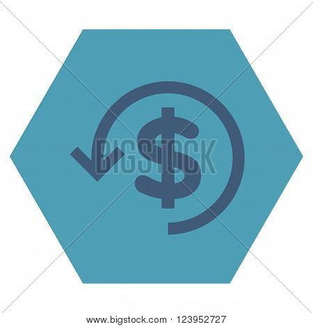 Refund vector pictogram. Image style is bicolor flat refund pictogram symbol drawn on a hexagon with cyan and blue colors.