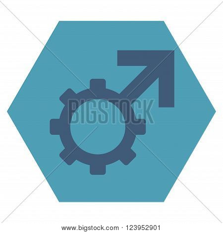 Technological Potence vector icon symbol. Image style is bicolor flat technological potence pictogram symbol drawn on a hexagon with cyan and blue colors.