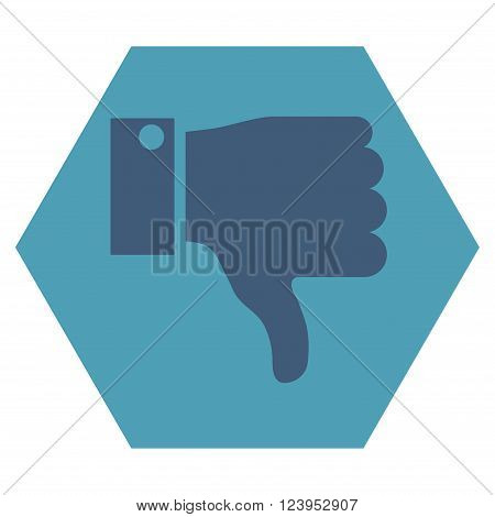 Thumb Down vector icon. Image style is bicolor flat thumb down iconic symbol drawn on a hexagon with cyan and blue colors.