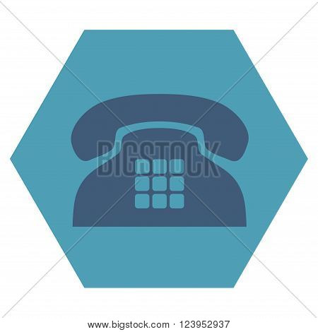 Tone Phone vector icon. Image style is bicolor flat tone phone pictogram symbol drawn on a hexagon with cyan and blue colors.