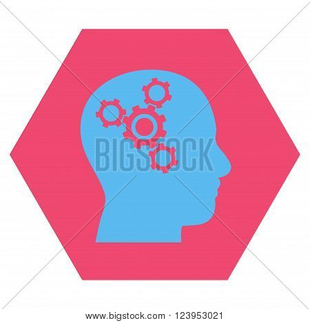 Brain Mechanics vector pictogram. Image style is bicolor flat brain mechanics pictogram symbol drawn on a hexagon with pink and blue colors.