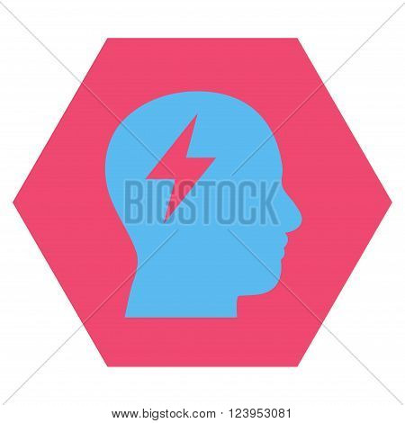 Brainstorming vector pictogram. Image style is bicolor flat brainstorming pictogram symbol drawn on a hexagon with pink and blue colors.