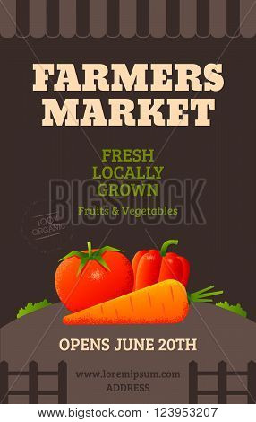 Farmers market poster template with vegetables tomato carrot pepper. Vector illustration
