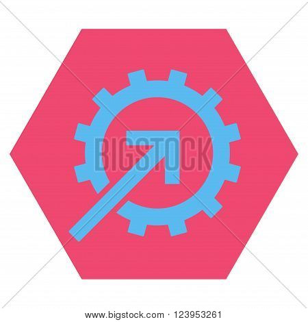 Cog Integration vector icon. Image style is bicolor flat cog integration icon symbol drawn on a hexagon with pink and blue colors.