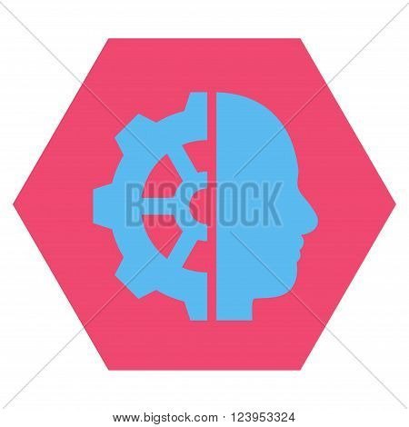 Cyborg Gear vector symbol. Image style is bicolor flat cyborg gear pictogram symbol drawn on a hexagon with pink and blue colors.