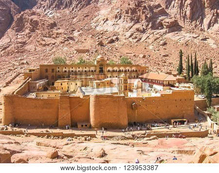 Aerial view of the Monastery of St. Catherine, the oldest Christian Monastery located on the slopes of Mount Horeb, Sinai Peninsula in Egypt.