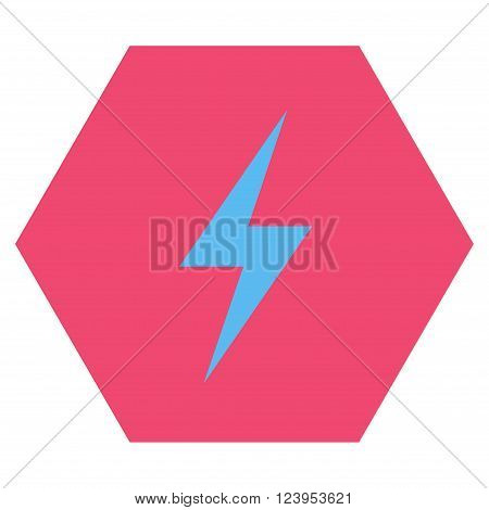 Electricity vector icon. Image style is bicolor flat electricity pictogram symbol drawn on a hexagon with pink and blue colors.