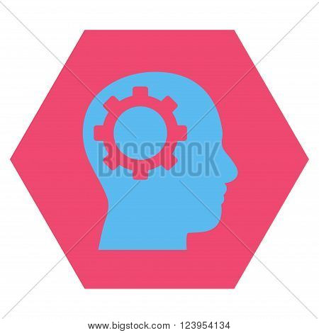 Intellect Gear vector pictogram. Image style is bicolor flat intellect gear pictogram symbol drawn on a hexagon with pink and blue colors.