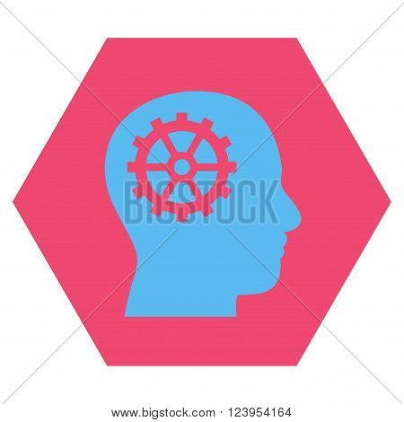 Intellect vector icon symbol. Image style is bicolor flat intellect icon symbol drawn on a hexagon with pink and blue colors.