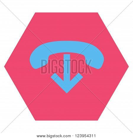 Phone Hang Up vector icon. Image style is bicolor flat phone hang up pictogram symbol drawn on a hexagon with pink and blue colors.