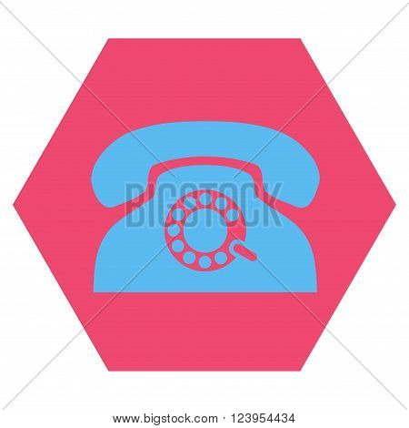 Pulse Phone vector pictogram. Image style is bicolor flat pulse phone icon symbol drawn on a hexagon with pink and blue colors.