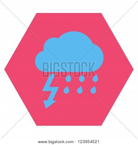 Thunderstorm vector pictogram. Image style is bicolor flat thunderstorm pictogram symbol drawn on a hexagon with pink and blue colors.