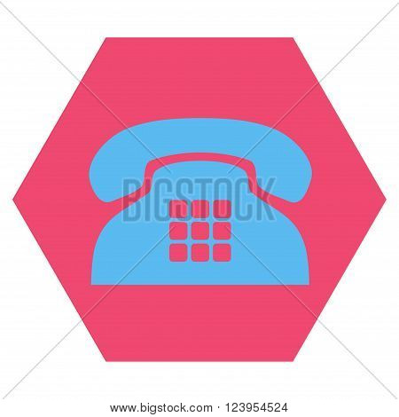Tone Phone vector symbol. Image style is bicolor flat tone phone icon symbol drawn on a hexagon with pink and blue colors.