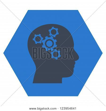 Brain Mechanics vector symbol. Image style is bicolor flat brain mechanics iconic symbol drawn on a hexagon with smooth blue colors.