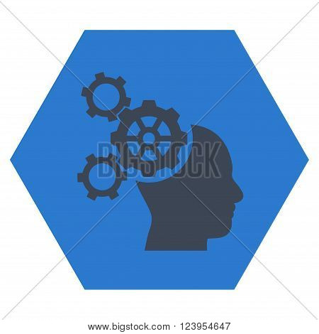Brain Mechanics vector pictogram. Image style is bicolor flat brain mechanics icon symbol drawn on a hexagon with smooth blue colors.