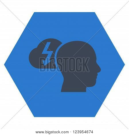 Brainstorming vector icon symbol. Image style is bicolor flat brainstorming pictogram symbol drawn on a hexagon with smooth blue colors.