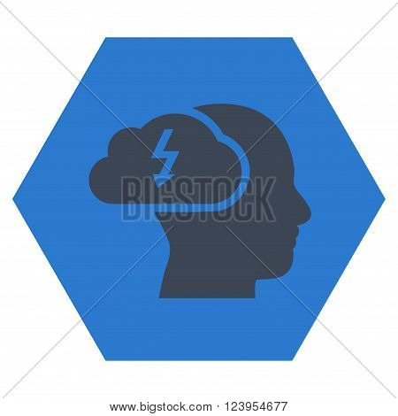 Brainstorming vector pictogram. Image style is bicolor flat brainstorming icon symbol drawn on a hexagon with smooth blue colors.