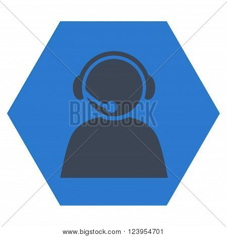 Call Center Operator vector icon. Image style is bicolor flat call center operator pictogram symbol drawn on a hexagon with smooth blue colors.