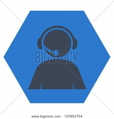 Call Center Operator vector icon symbol. Image style is bicolor flat call center operator icon symbol drawn on a hexagon with smooth blue colors.