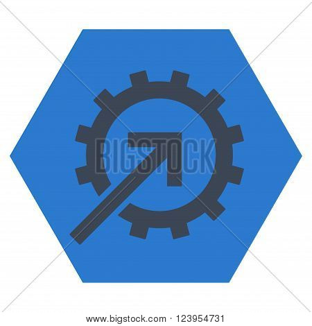 Cog Integration vector pictogram. Image style is bicolor flat cog integration pictogram symbol drawn on a hexagon with smooth blue colors.