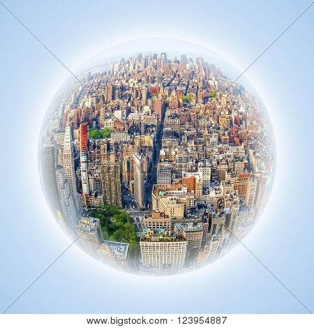 Conceptual image with fisheye effect and globe effect. Representative image of the heart of Manhattan and business finance. Aerial view of skyscrapers and busy streets of New York city, USA.