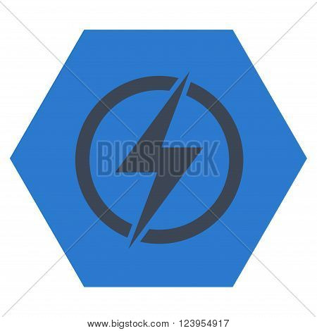 Electricity vector pictogram. Image style is bicolor flat electricity iconic symbol drawn on a hexagon with smooth blue colors.