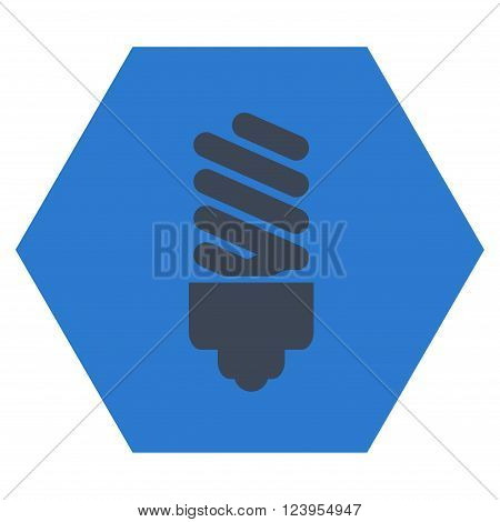 Fluorescent Bulb vector icon symbol. Image style is bicolor flat fluorescent bulb iconic symbol drawn on a hexagon with smooth blue colors.