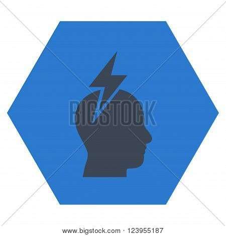 Headache vector icon symbol. Image style is bicolor flat headache icon symbol drawn on a hexagon with smooth blue colors.
