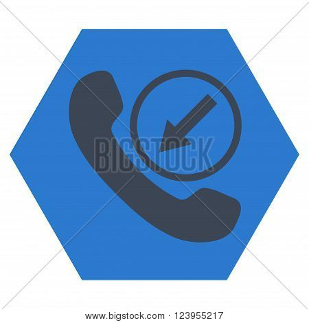 Incoming Call vector pictogram. Image style is bicolor flat incoming call icon symbol drawn on a hexagon with smooth blue colors.