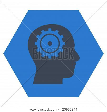 Intellect vector symbol. Image style is bicolor flat intellect icon symbol drawn on a hexagon with smooth blue colors.