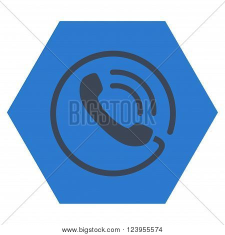 Phone Call vector symbol. Image style is bicolor flat phone call iconic symbol drawn on a hexagon with smooth blue colors.
