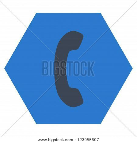 Phone Receiver vector symbol. Image style is bicolor flat phone receiver iconic symbol drawn on a hexagon with smooth blue colors.