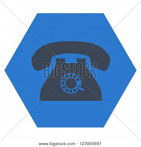Pulse Phone vector icon symbol. Image style is bicolor flat pulse phone icon symbol drawn on a hexagon with smooth blue colors.