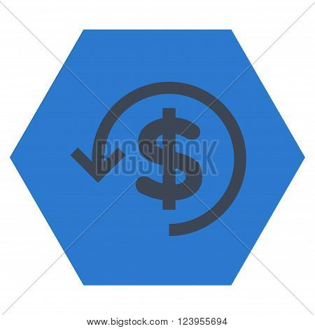 Refund vector icon. Image style is bicolor flat refund pictogram symbol drawn on a hexagon with smooth blue colors.