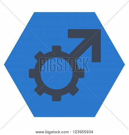 Technological Potence vector icon symbol. Image style is bicolor flat technological potence pictogram symbol drawn on a hexagon with smooth blue colors.