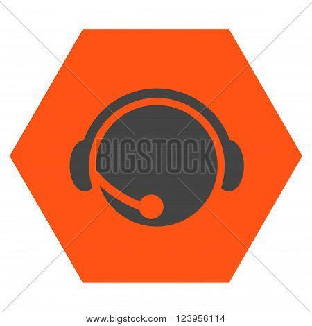 Call Center Operator vector icon symbol. Image style is bicolor flat call center operator pictogram symbol drawn on a hexagon with orange and gray colors.