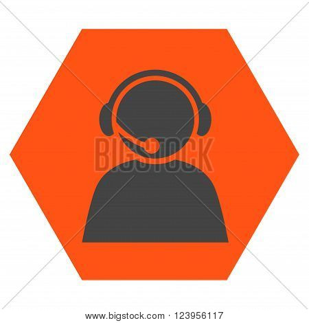 Call Center Operator vector icon. Image style is bicolor flat call center operator pictogram symbol drawn on a hexagon with orange and gray colors.