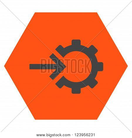 Cog Integration vector icon. Image style is bicolor flat cog integration iconic symbol drawn on a hexagon with orange and gray colors.