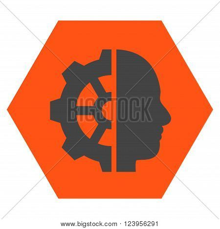 Cyborg Gear vector icon. Image style is bicolor flat cyborg gear icon symbol drawn on a hexagon with orange and gray colors.