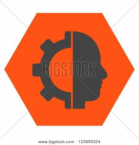 Cyborg Gear vector symbol. Image style is bicolor flat cyborg gear iconic symbol drawn on a hexagon with orange and gray colors.