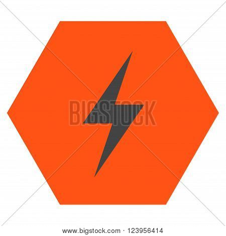 Electricity vector icon. Image style is bicolor flat electricity iconic symbol drawn on a hexagon with orange and gray colors.