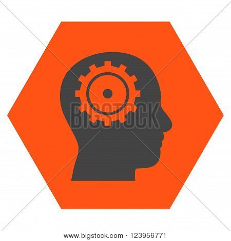 Intellect vector icon symbol. Image style is bicolor flat intellect pictogram symbol drawn on a hexagon with orange and gray colors.