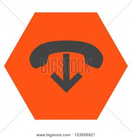 Phone Hang Up vector icon symbol. Image style is bicolor flat phone hang up icon symbol drawn on a hexagon with orange and gray colors.