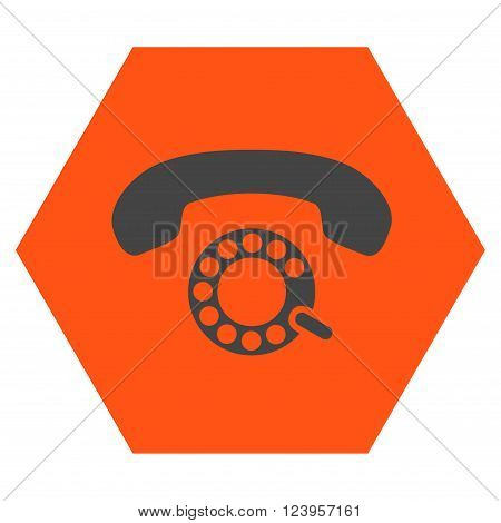 Pulse Dialing vector pictogram. Image style is bicolor flat pulse dialing icon symbol drawn on a hexagon with orange and gray colors.