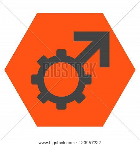 Technological Potence vector pictogram. Image style is bicolor flat technological potence pictogram symbol drawn on a hexagon with orange and gray colors.