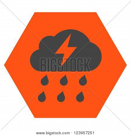 Thunderstorm vector icon symbol. Image style is bicolor flat thunderstorm iconic symbol drawn on a hexagon with orange and gray colors.