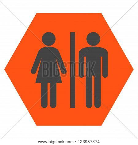WC Persons vector icon. Image style is bicolor flat WC persons icon symbol drawn on a hexagon with orange and gray colors.