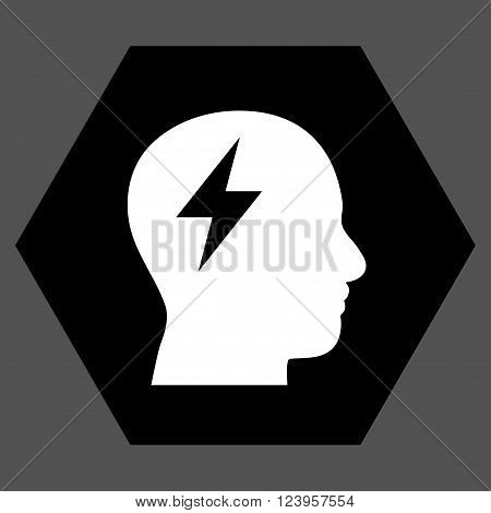 Brainstorming vector icon symbol. Image style is bicolor flat brainstorming pictogram symbol drawn on a hexagon with black and white colors.