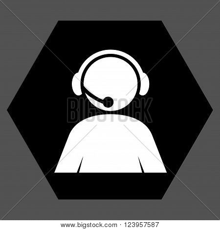 Call Center Operator vector icon. Image style is bicolor flat call center operator pictogram symbol drawn on a hexagon with black and white colors.