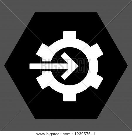 Cog Integration vector icon symbol. Image style is bicolor flat cog integration iconic symbol drawn on a hexagon with black and white colors.
